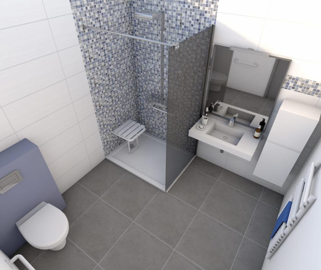 Type De Salle De Bain plan 3d d'une salle de bains pour personne à mobilité